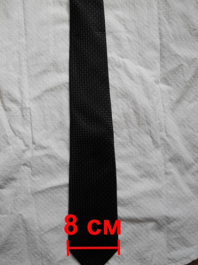 Фото 6 - Мужской галстук в крап темно серый не широкий узкий George
