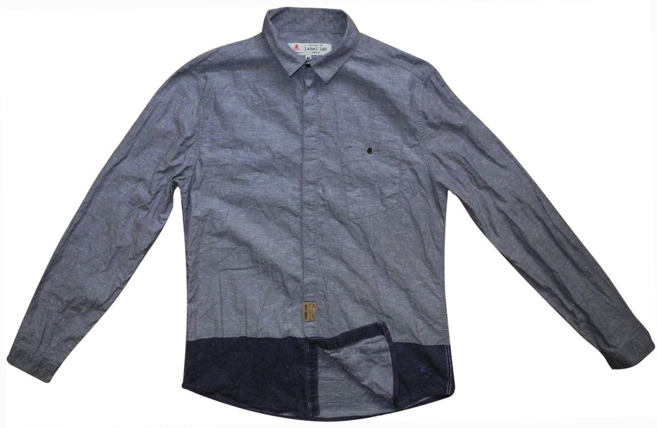 Фото - Мужская рубашка синяя серая в крапп Label Lab M