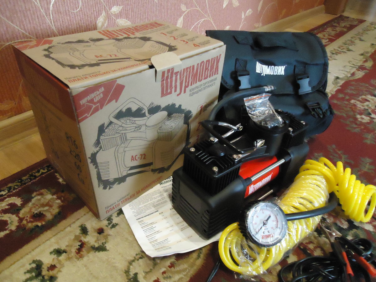 Фото 3 - Автомобильный компрессор Штурмовик АС-72 (двухцилиндровый)