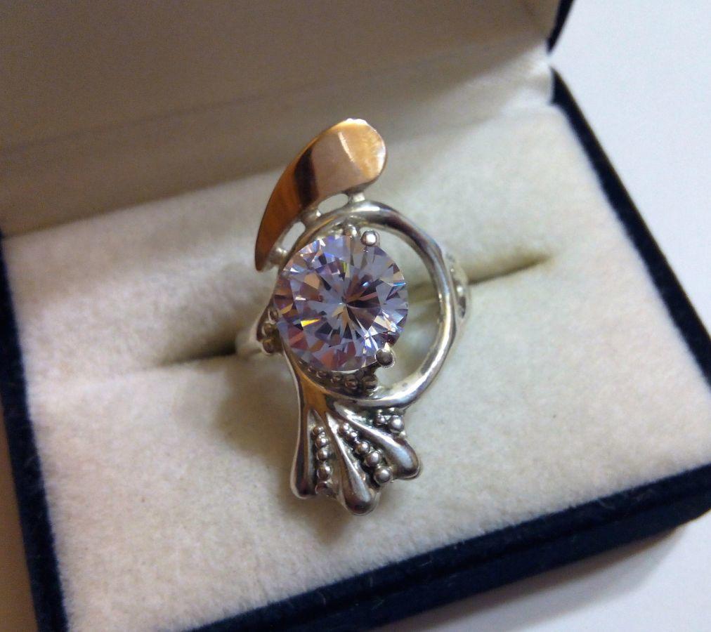 Кольцо, перстень - серебро 925 пробы, золото 585 пробы - размер 19 ... 7988f3691d9