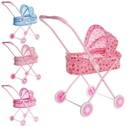 Розовая Коляска для кукол 882М. Голубая коляска