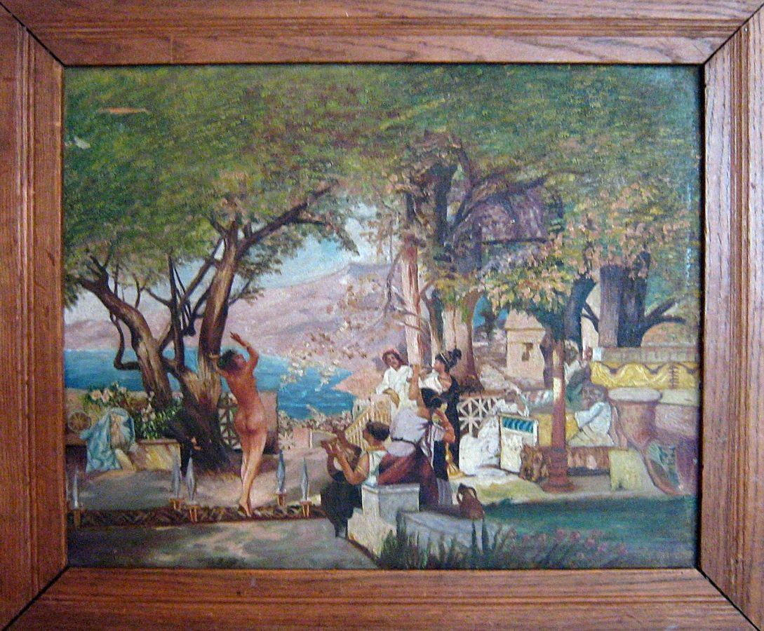 Старинная копия картины Генриха Семирадского «Танец среди мечей»