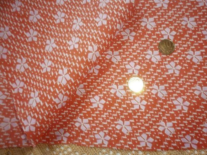 Ткань батист хлопок, апельсиновый цвет с белыми  листиками 5