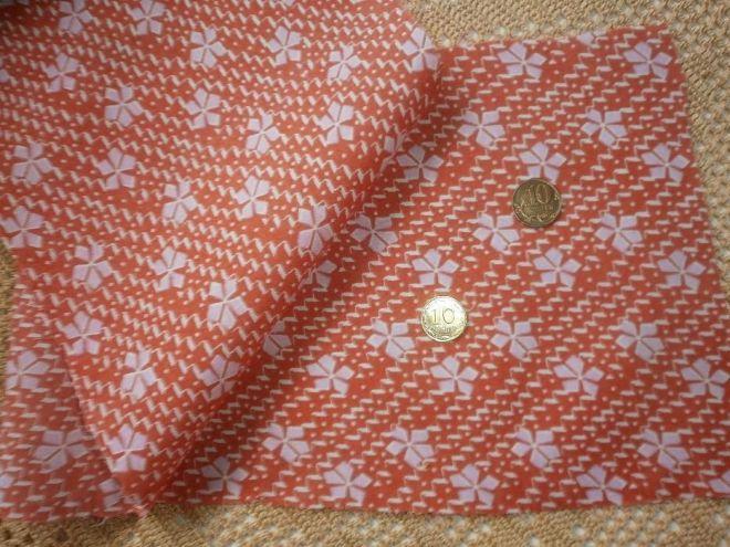 Ткань батист хлопок, апельсиновый цвет с белыми  листиками 6