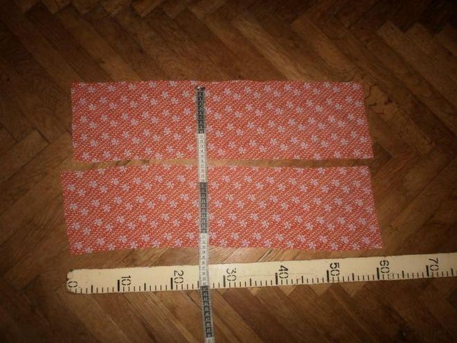 Ткань батист хлопок, апельсиновый цвет с белыми  листиками 3