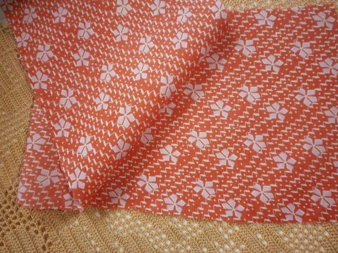 Ткань батист хлопок, апельсиновый цвет с белыми  листиками 7