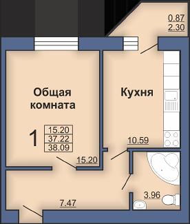 Левада, квартира 1ком. квартира в новом построенном доме