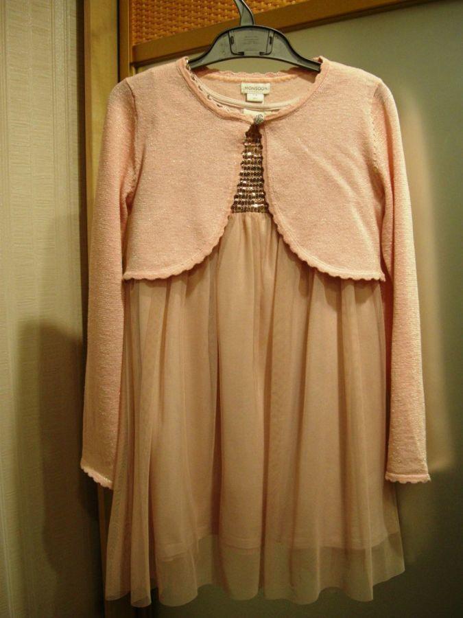 Комплект платье+кофточка для девочки 7-8 лет рост 128