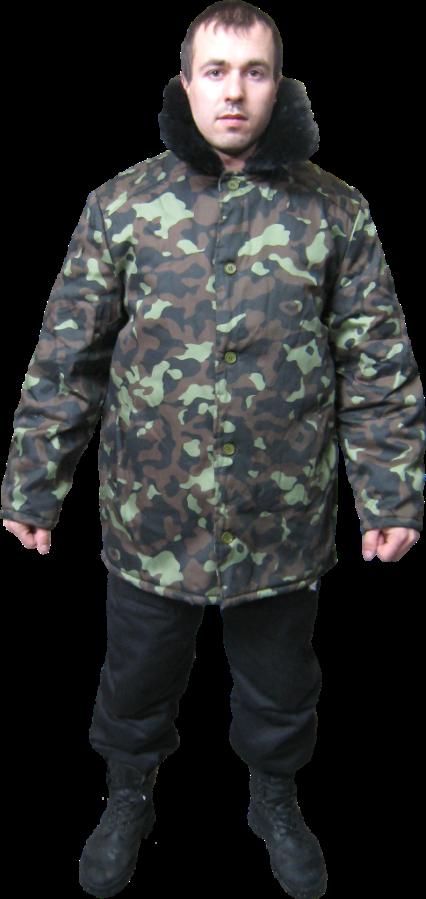 Теплая рабочая куртка камуфлированная с меховым воротником
