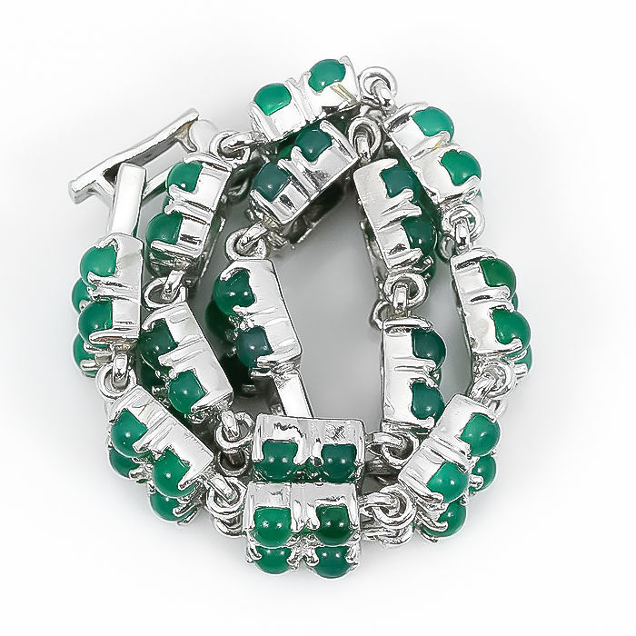 Фото 3 - Браслет серебряный 925 природный зеленый оникс, цирконий.