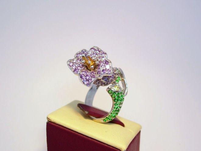 Кольцо лилия, серебро 925 Фианиты, стекло ювелирное, родий