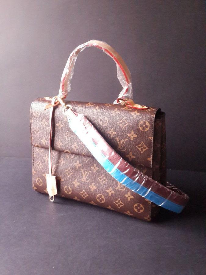 efa32e33c487 Брендовая коричневая кожаная женская сумка Louis Vuitton Луи Витон ...