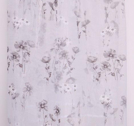 Фото - Прозрачная тюль на органзе с серыми маками