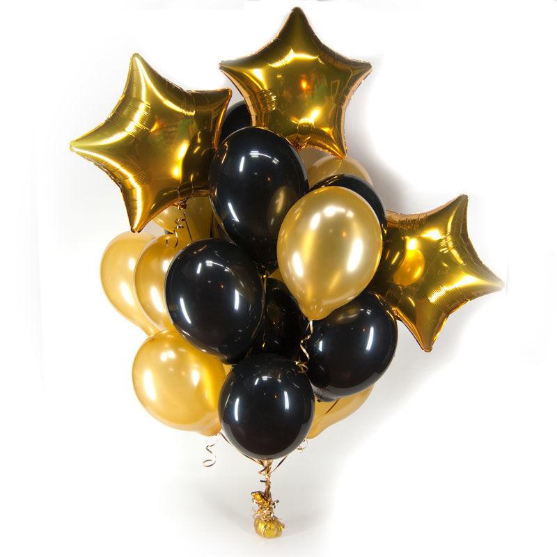 Фото - Фольгированные шары звезды и черные шары