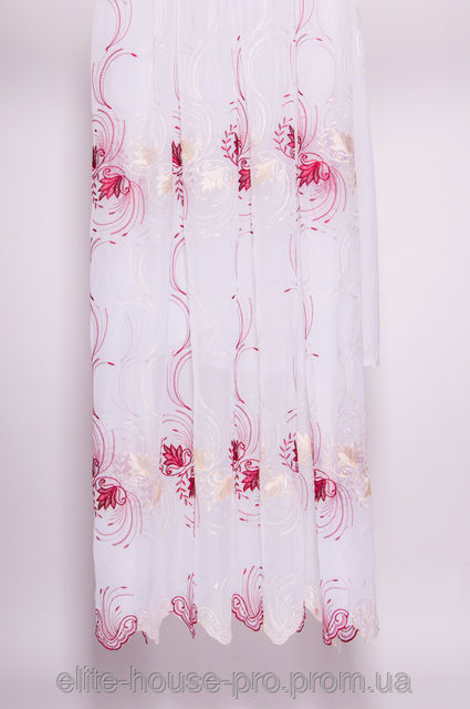 Фото 2 - Белая шифоновая гардина с красной вышивкой