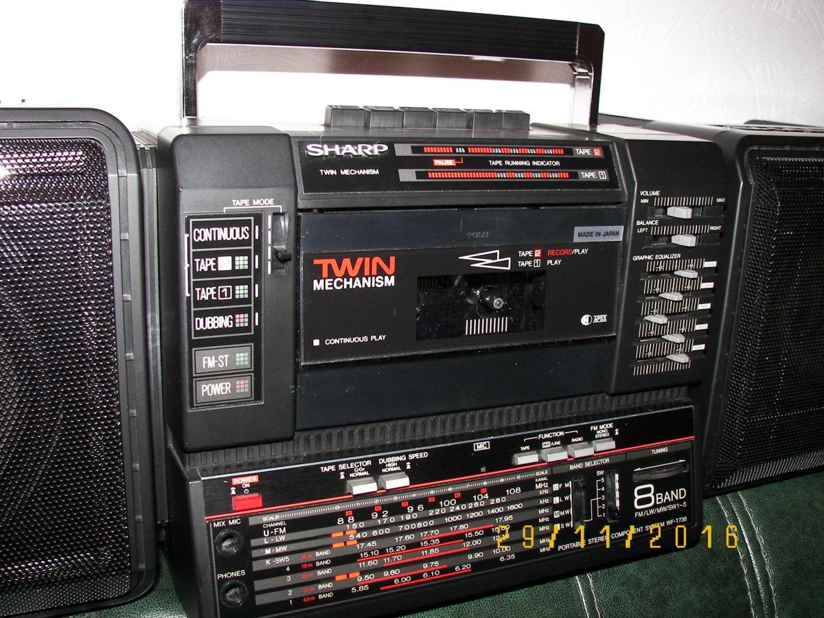 Фото 6 - Раритетная коллекц. магнитола Sharp WF-T738E(bk)  Япония 1986 г.в.