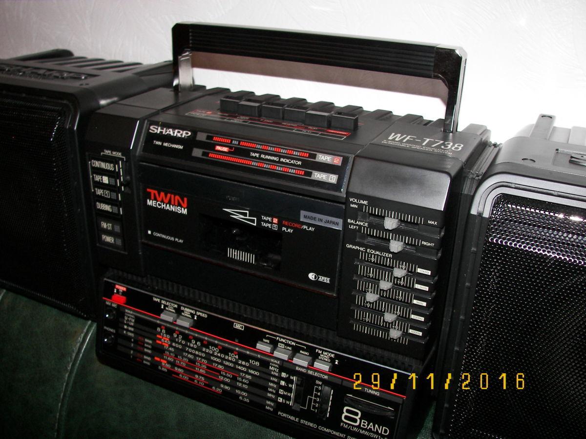 Фото 3 - Раритетная коллекц. магнитола Sharp WF-T738E(bk)  Япония 1986 г.в.