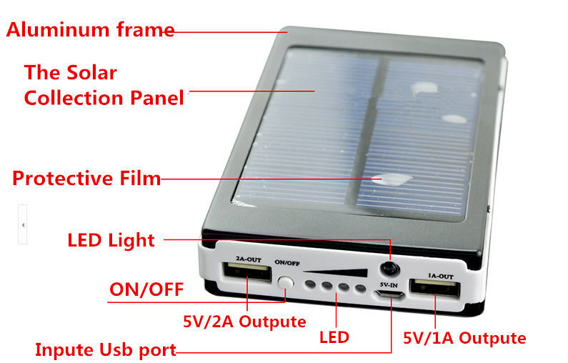 Фото 4 - Солнечная батарея аккумулятор Power Bank 6000 мАч
