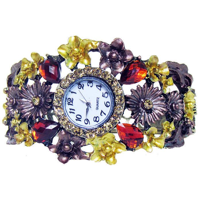 Фото - Браслет бронза зі стразами і квітами годинник