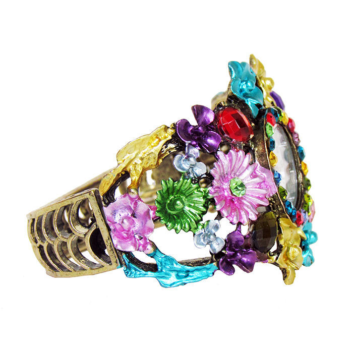 Фото 3 - Браслет бронза зі стразами і квітами годинник