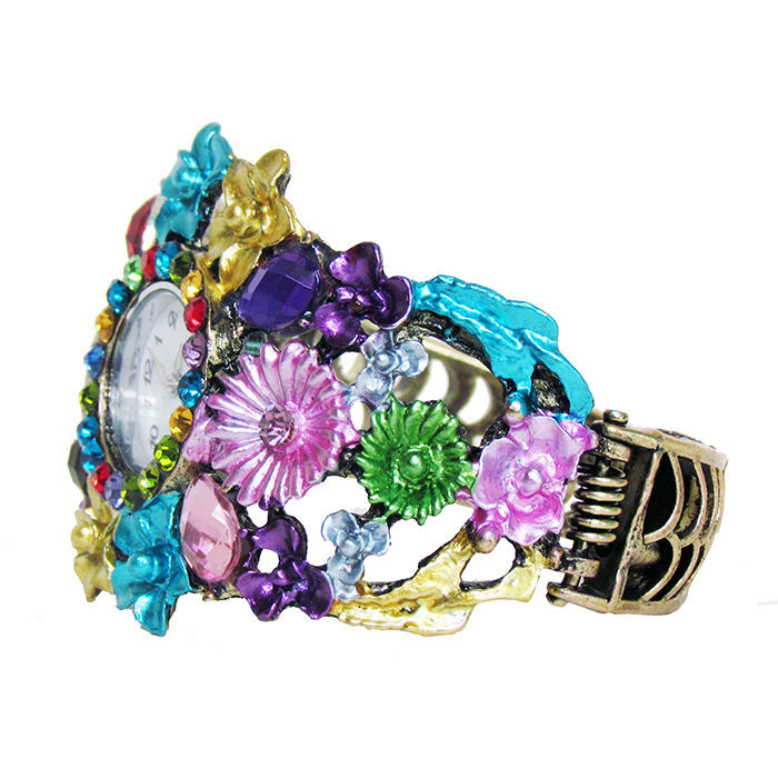 Фото 2 - Браслет бронза зі стразами і квітами годинник
