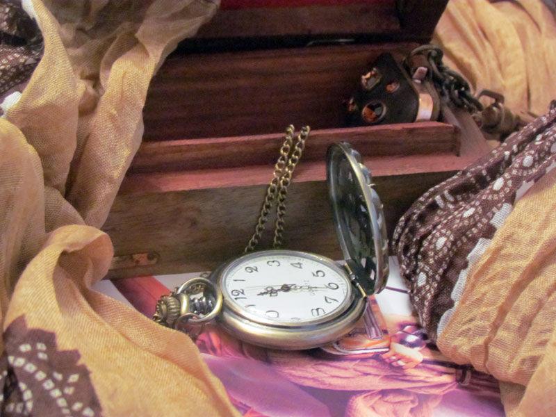 Фото 3 - Годинник кулон підвіска бамбук з кришкою