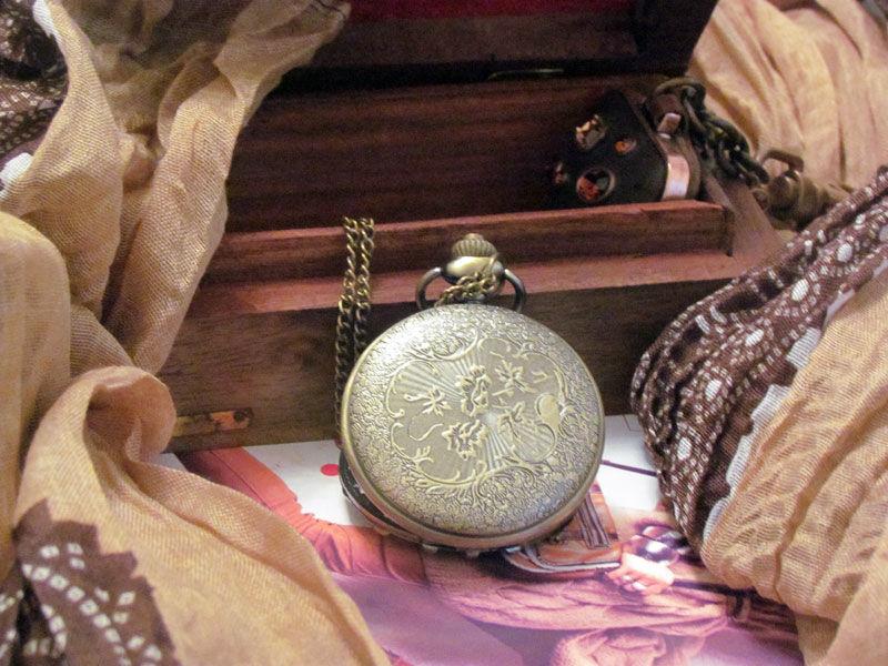 Фото 4 - Годинник кулон підвіска бамбук з кришкою