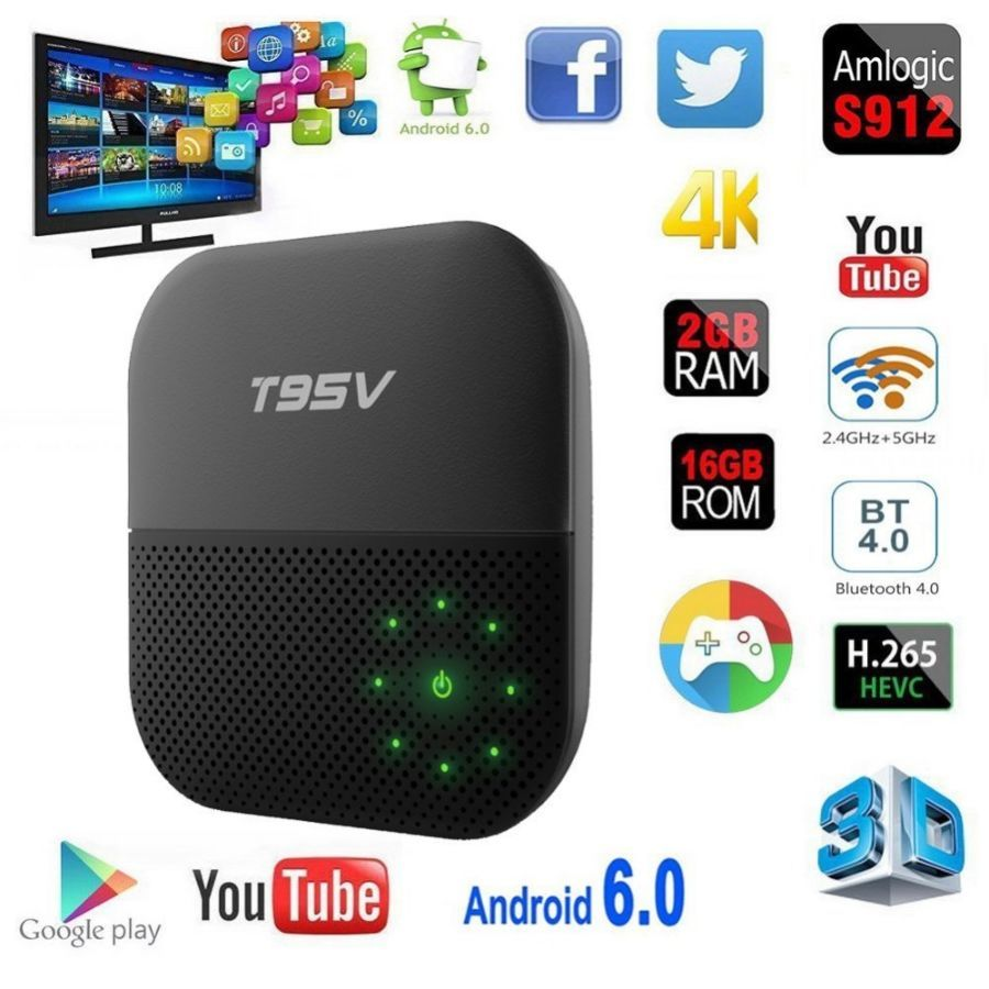 T95V Pro s912 2 G/16G Android 6.0 smart tv box смарт тв приставка t95z