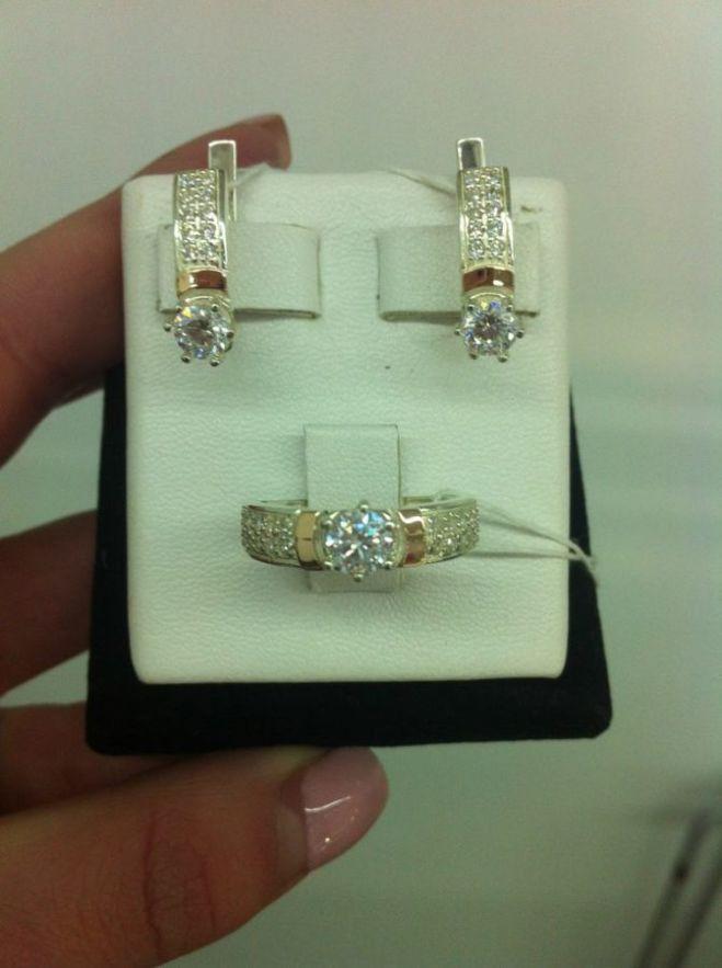 Комплект кольцо и серьги из серебра и золота 035