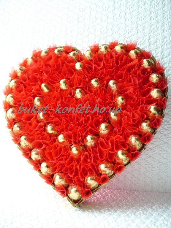 Сердце, подарок, цветы конфеты, сердце из конфет