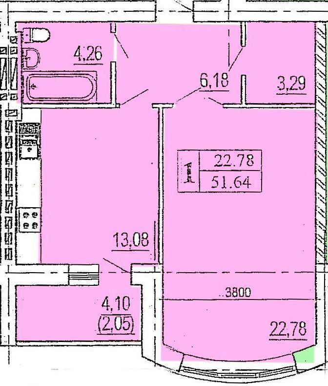 1-но комнатная в новом элитном кирпичном доме в Приморском районе