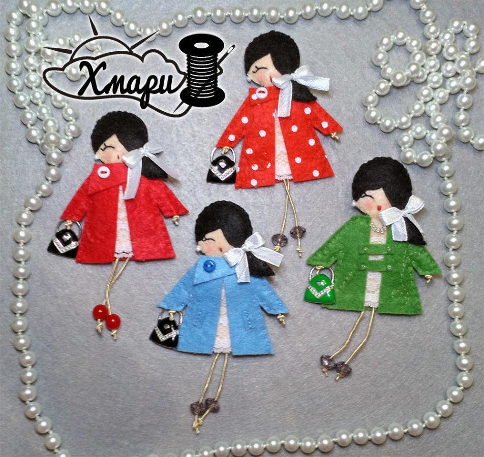 Фетровые броши - куколки Handmade