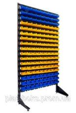 Стеллаж для склада с пластиковыми ящиками для метизов