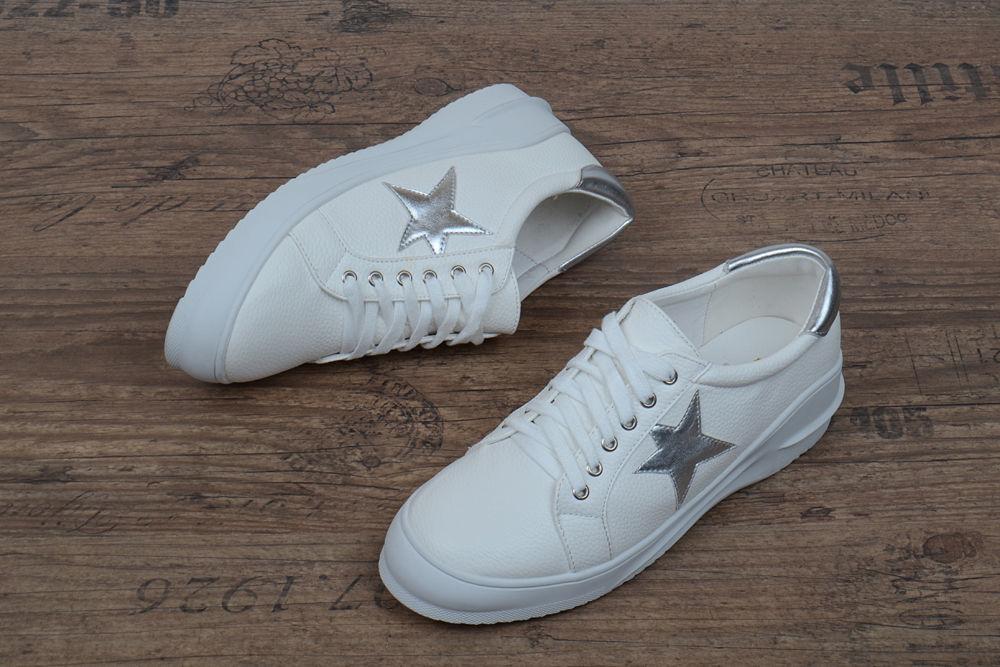 Кроссовки слипоны женские белые со звездой Silver star на шнуровке ... 51b334f9522