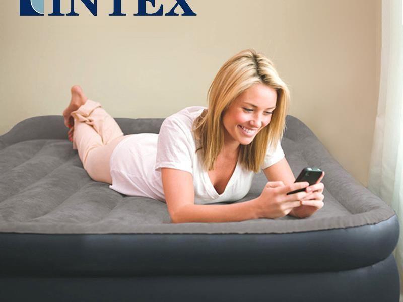 Двухспальная надувная флокированная кровать матрас Intex 67738.