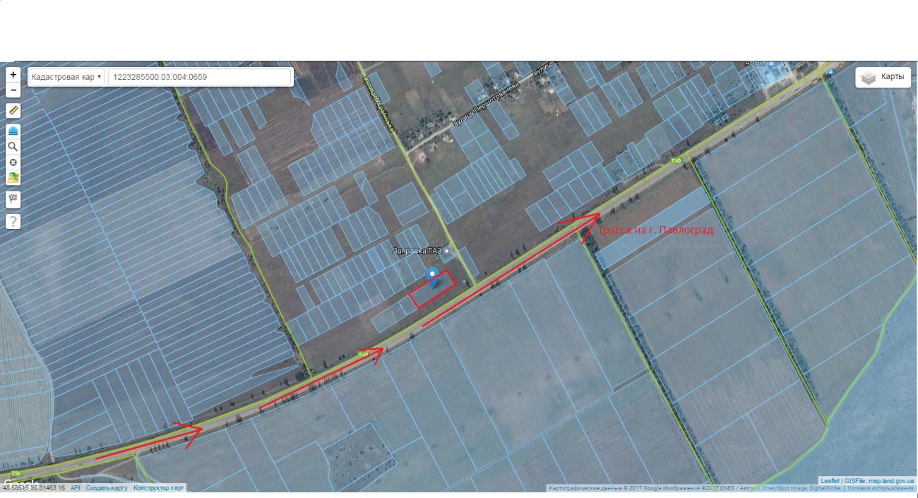 Срочно 55 соток по трассе на Павлоград, первая линия, коммерция