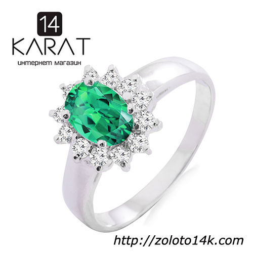 Золотое кольцо с натуральным изумрудом и бриллиантами 0,24 карат  13 ... abd5c47f318