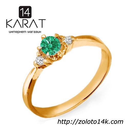 Золотое кольцо с изумрудом и бриллиантами 0,06 карат. Желтое золото ... dba405cfc6b