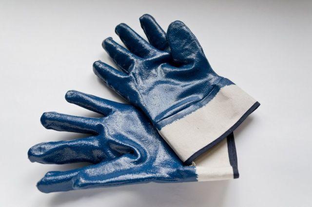Перчатки х/б с нитриловым покрытием синие жесткий манжет