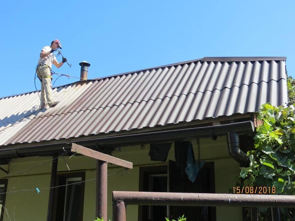Чистка, фарбування старого шифера, андуліна, металевих дахів