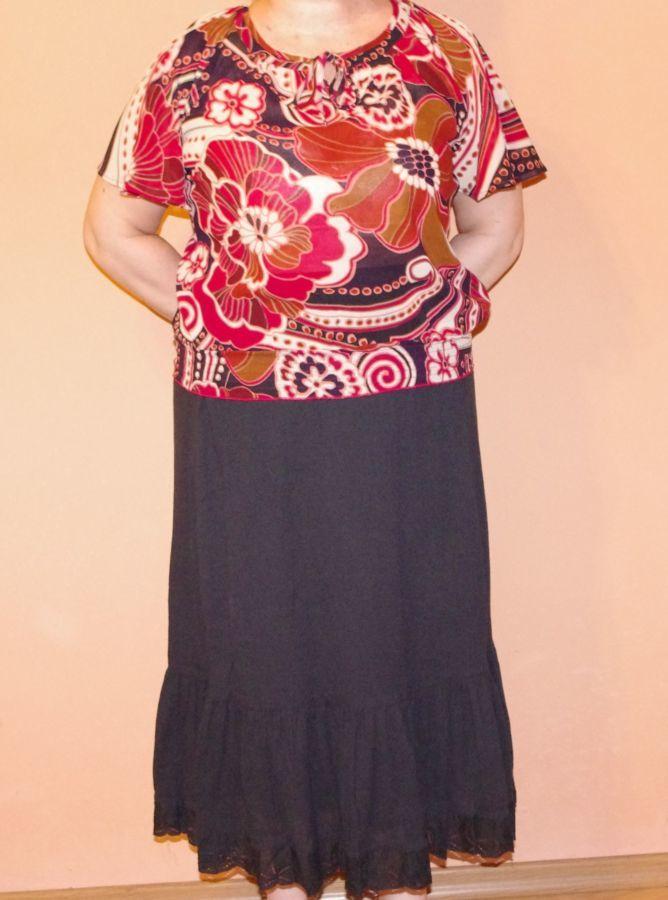 Юбка летняя новая с оборкой и кружевной отделкой черная 52 размер