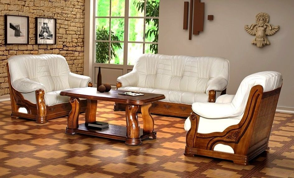 Новый кожаный диван и кресло Pers (Кожаная мягкая мебель с Польши)