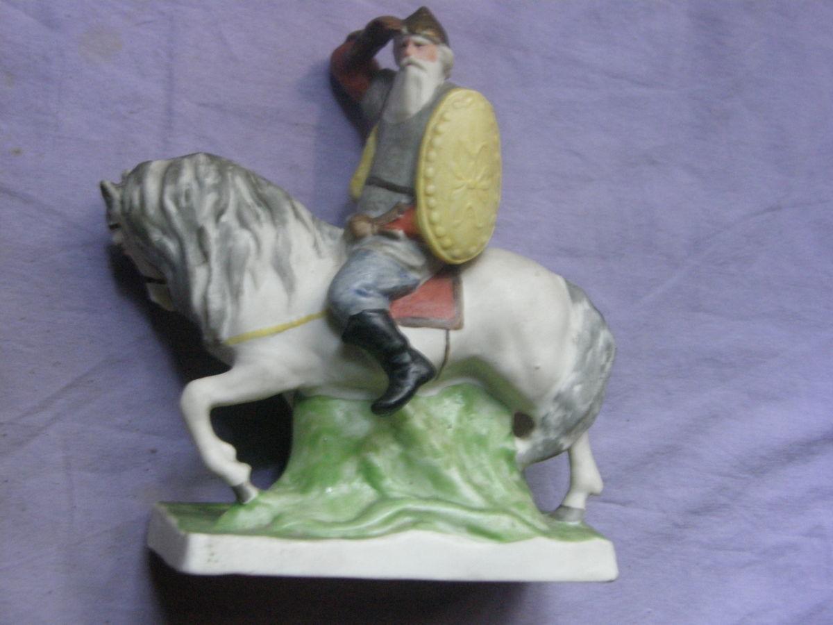 Скульптура Богатырь в дозоре Артель Керамик 1950е Фарфор Бисквит, RARE