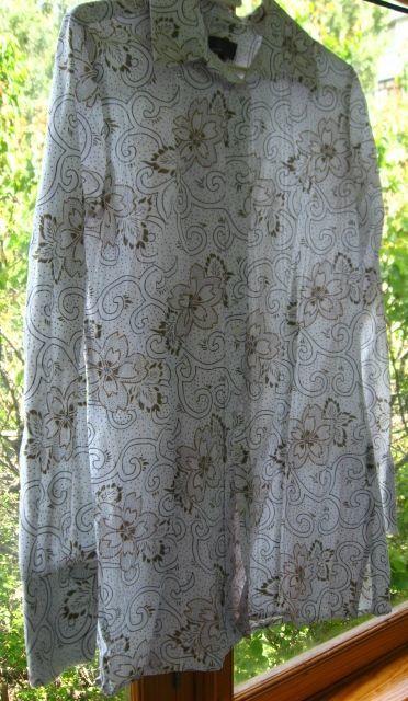 рубашка длинная, как туника, хлопок, 10 р. М, белая с цветами, Mexx