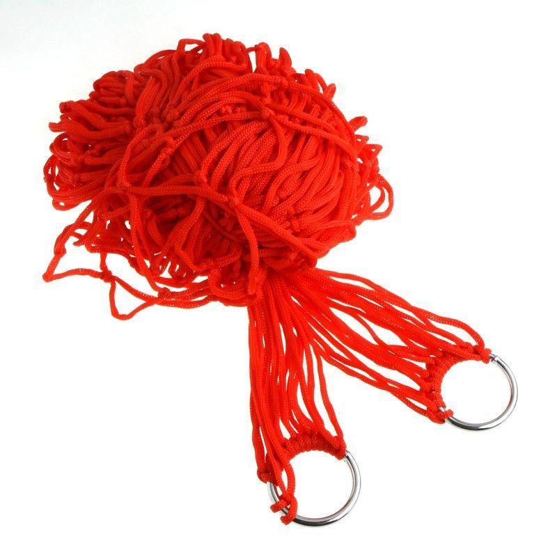 Гамак туристичний червоний з кільцами відпочинок на природі або в саду