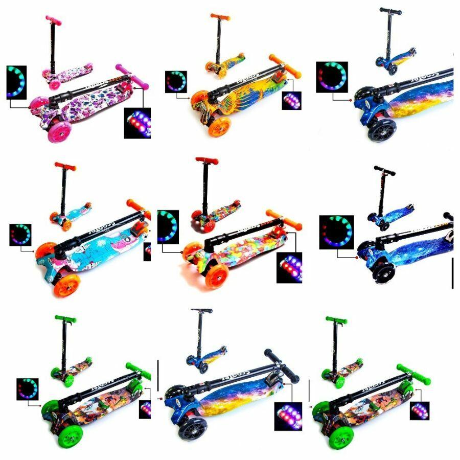 Самокат Детский Maxi Best Scooter с наклоном руля складной Принтом