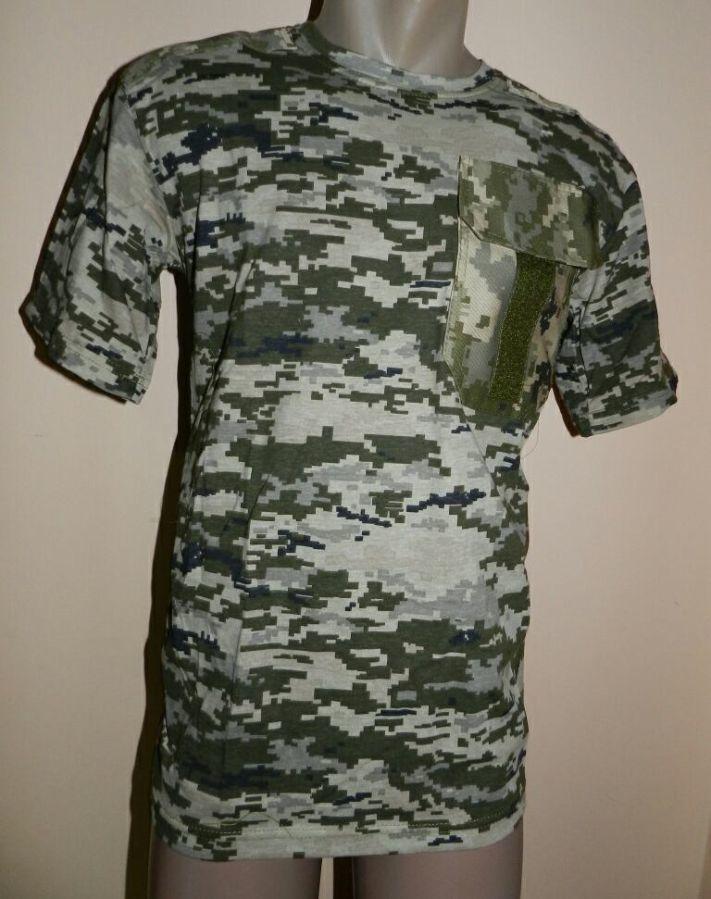 Футболки армейские камуфляж светлый пиксель ВСУ с карманом и липучкой