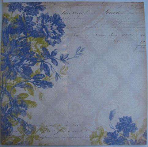 скрап бумага набор синий с коричневым: цветы, полоска, ромбы
