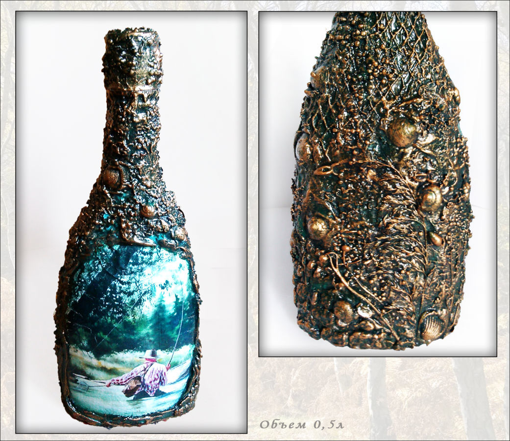 """Декор бутылки """"Подарок рыбаку""""  Сувениры для рыбаков ручная работа"""