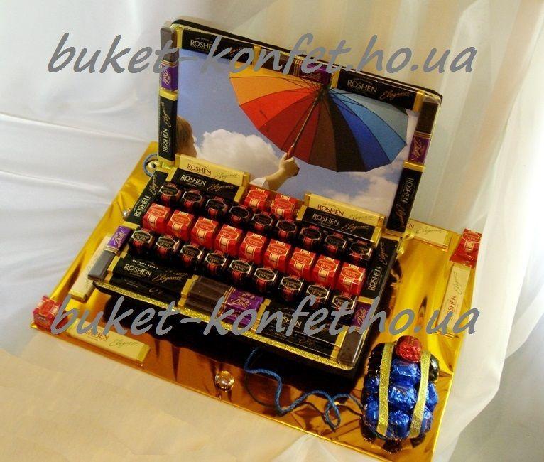 Мужской подарок, мужской букет из конфет, машина, ноутбук, гитара.